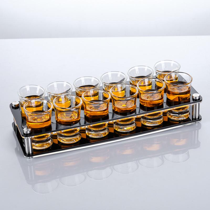 酒吧玻璃子弹杯一口杯架 KTV烈酒杯架套装 亚克力白酒杯架B52酒杯