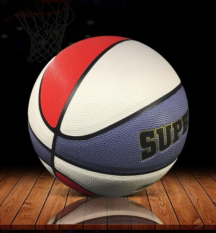 3色の柔らかい皮の花式のプラスチックの場所の街頭のバスケットボールの室外の学生は7号の標準の青いボールのpu花球の男を訓練します