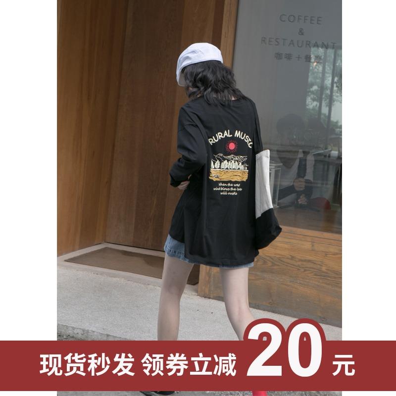 你好卡农 原创海景印花长袖t恤女2020新款秋季港味宽松圆领上衣棉