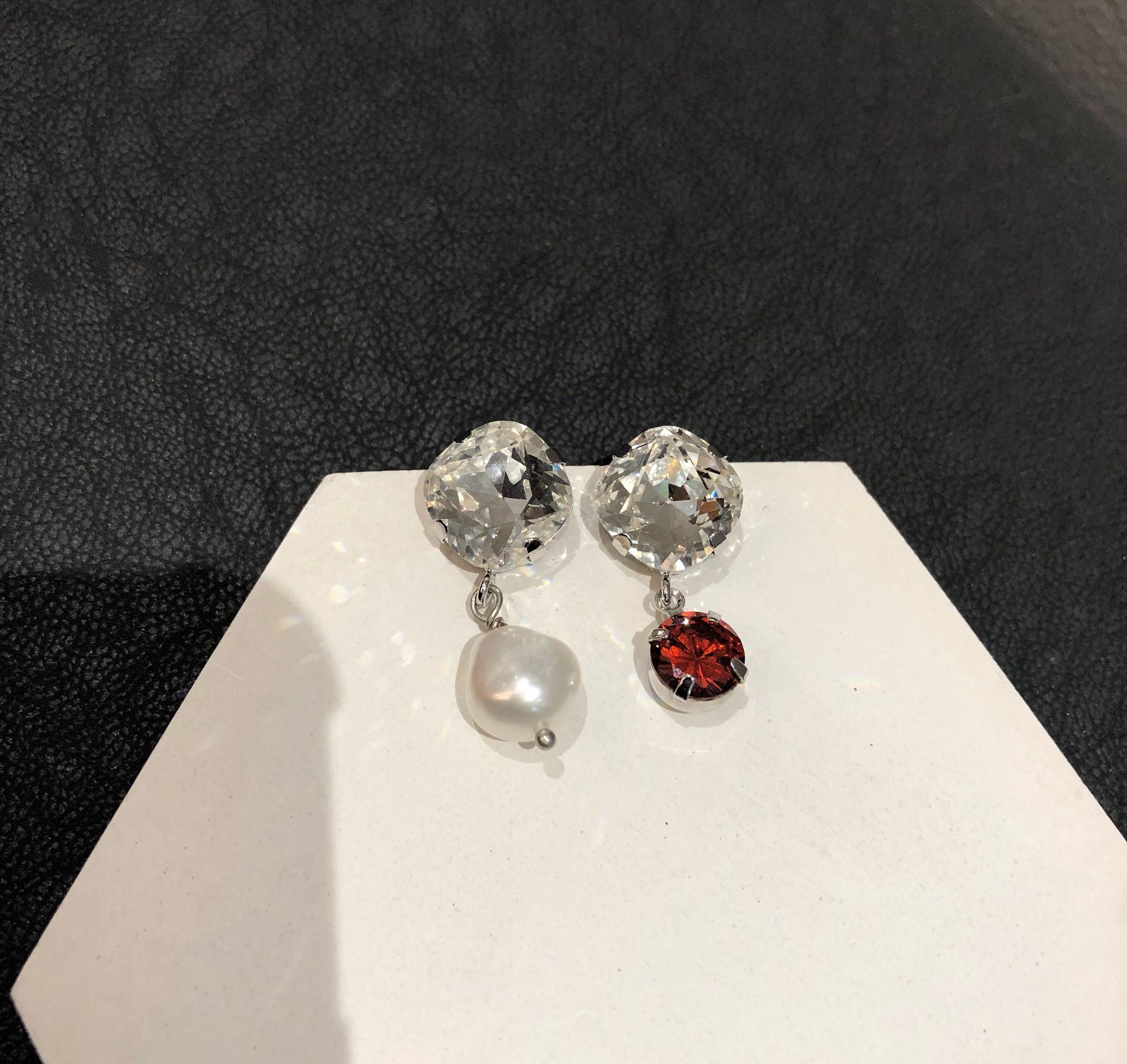 just混搭耳钉欧美耳环流行珍珠闪耀水钻不对称耳环时尚潮流女耳环图片
