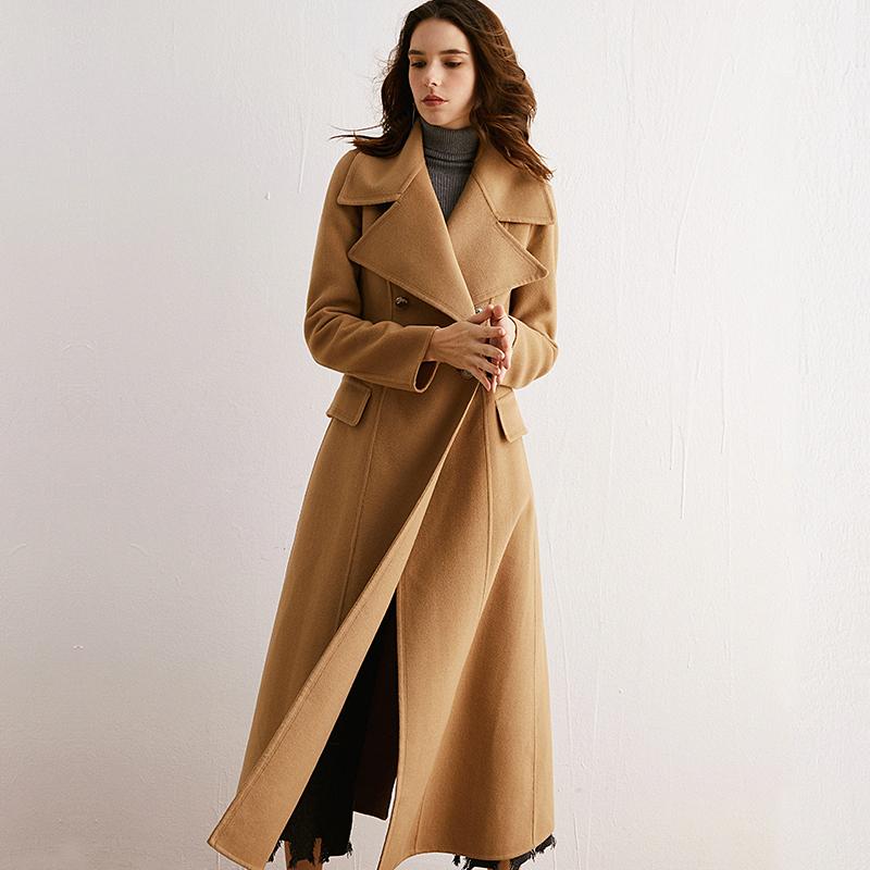 FI20冬季新品超长款收腰大翻领澳洲羊绒双面绒羊毛呢子大衣外套女