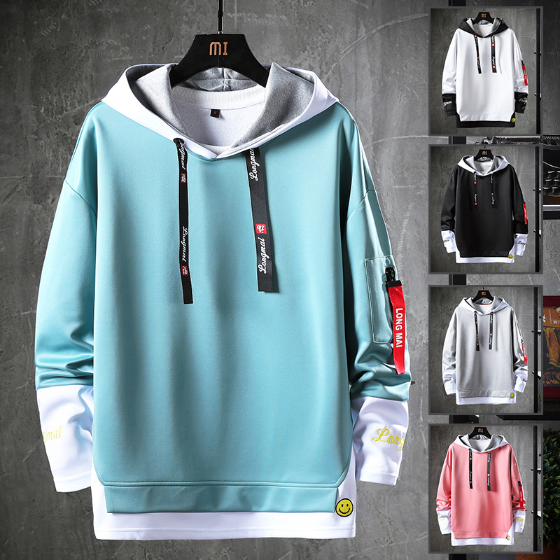 Mens sweater autumn new round neck fashion brand sweater European and American mens long sleeve Hoodie clothes sweater mens