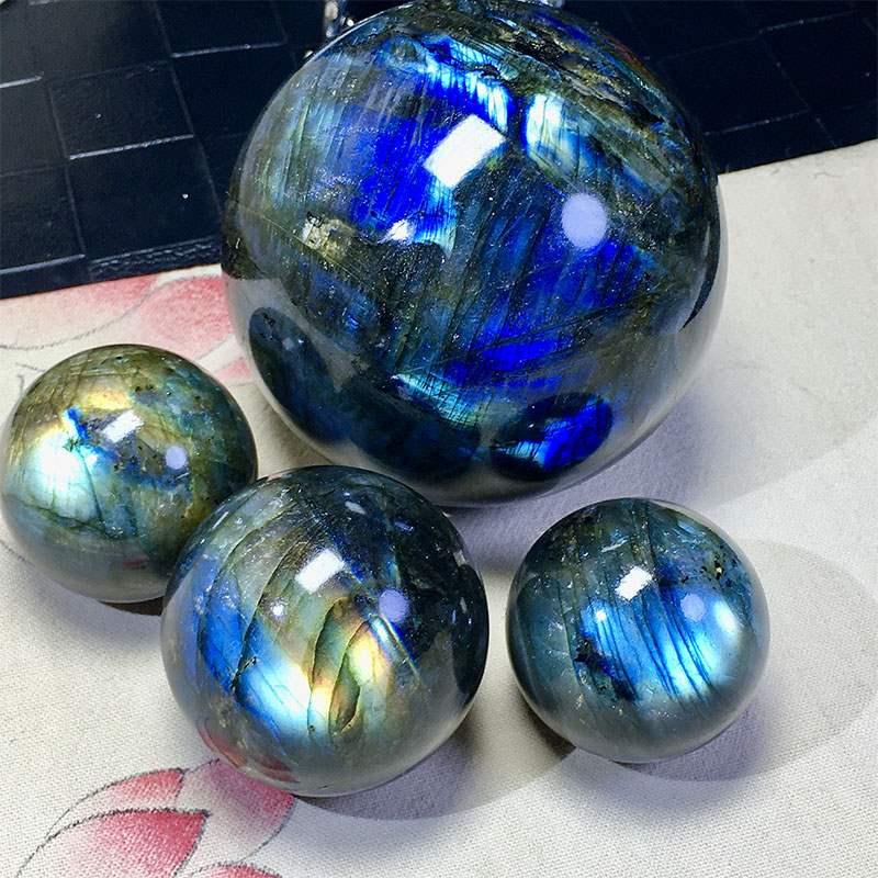 正品天然拉长石球水晶球灰月光原石蓝光彩虹沉稳坚定助运能量疗愈