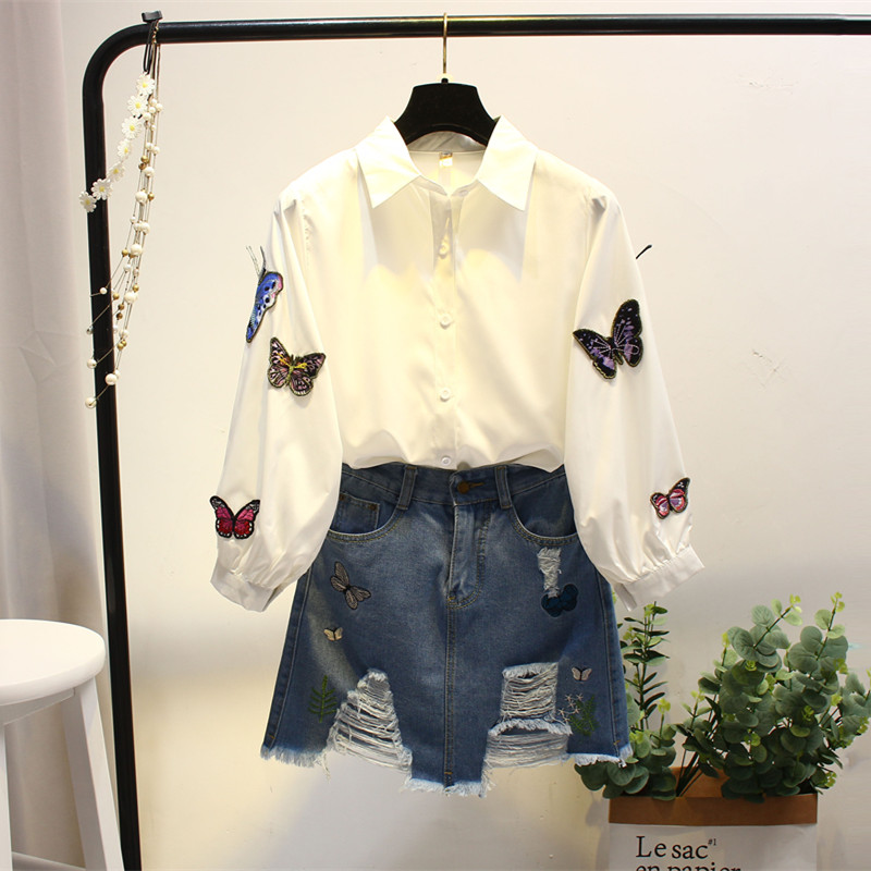 圣罗兰ysl港味小香风衬衫牛仔裙子两件套APM747