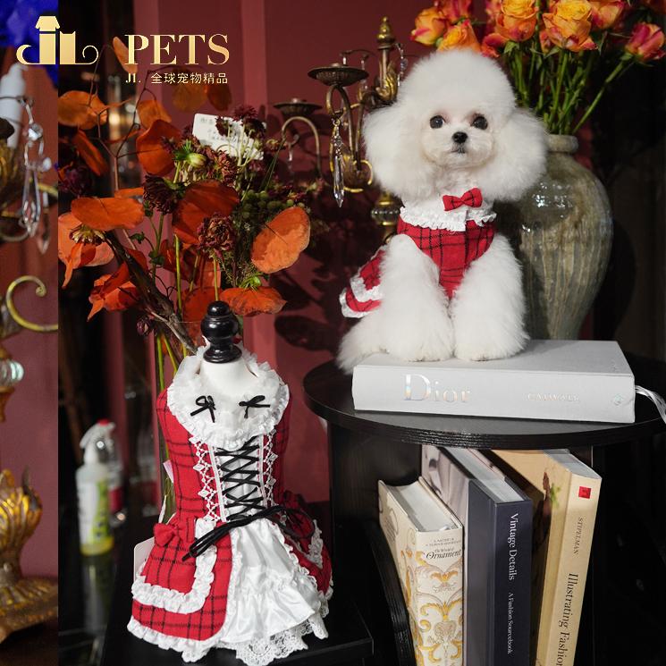 Jlpets pet teddy bear dog clothing autumn and winter Lori dress Christmas dress new year small dog clothing