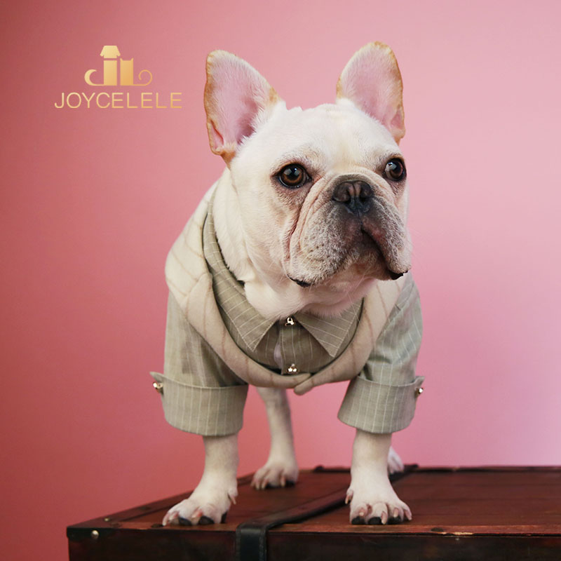 Joycellele dog clothing jlpets pet clothing Beige white stripe micro elastic shirt two pieces of clothing cat and dog