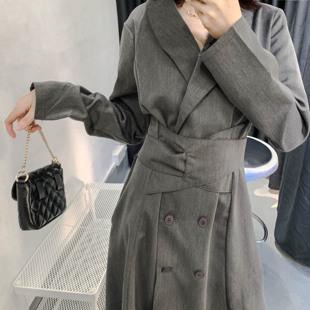 流行polo领长袖 轻熟风双排扣西装 秋装 韩版 连衣裙收腰显瘦气质长裙