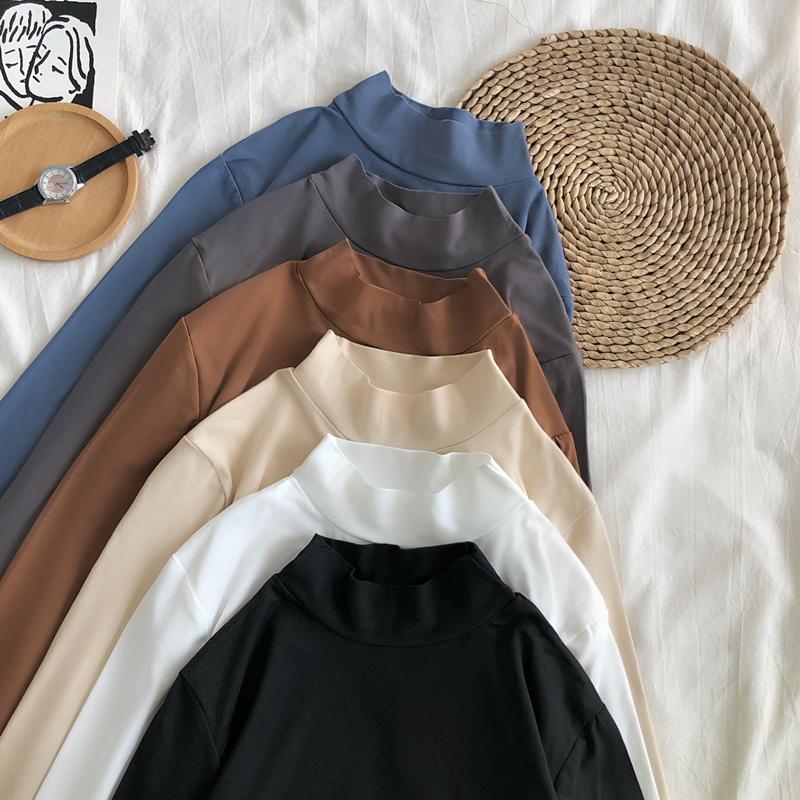 半高领打底衫女长袖修身显瘦纯色百搭韩版简约秋冬季加绒内搭上衣