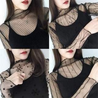 黛.蕾丝打底衫女长袖黑纱透视镂空渔网上衣内搭紧身超薄网纱透明
