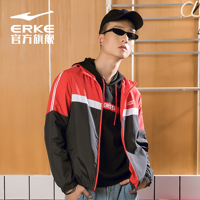 Hongxing Erke sports coat mens 2019 spring and autumn loose sunscreen windbreaker thin jacket top trendy black red blue