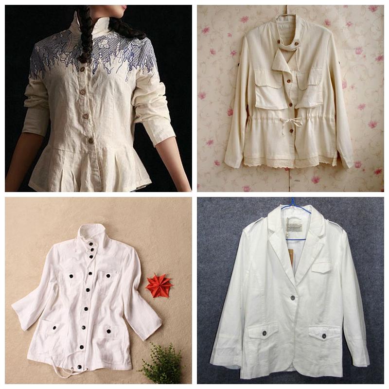 新品优雅白色立领单排扣口袋麻长袖外套收腰修身小西装
