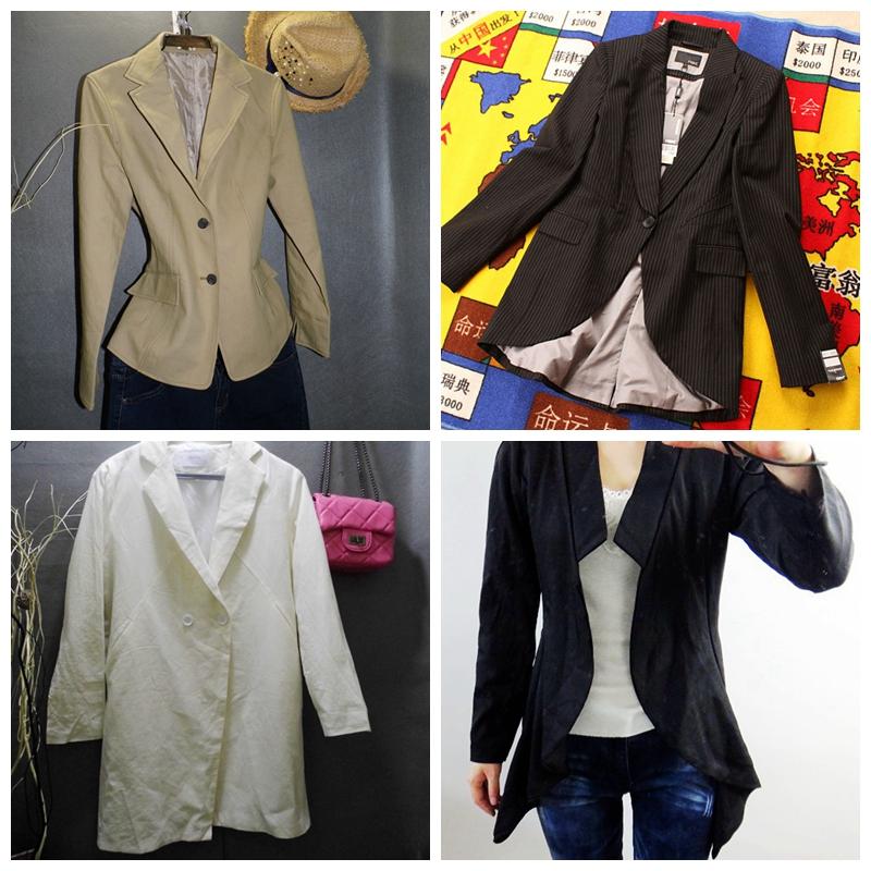 欧美女士精品长袖条纹通勤女装长外套中长风衣西装