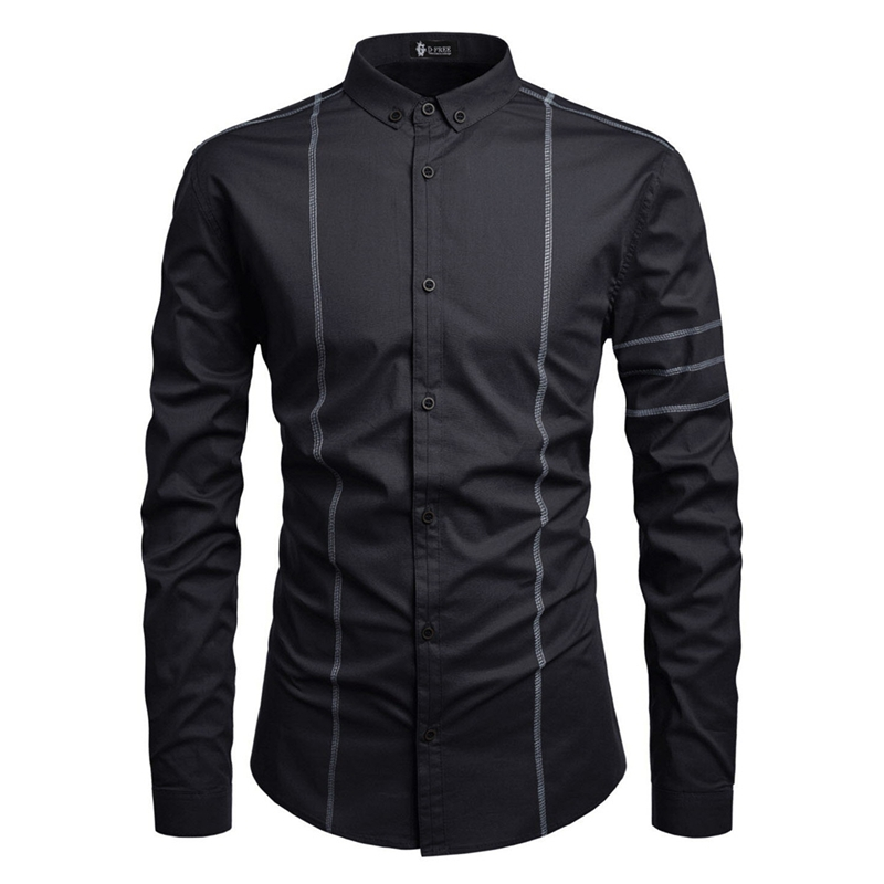 Mens Long Sleeve Shirts Slim fit Casual Shirt for Men 男衬衫