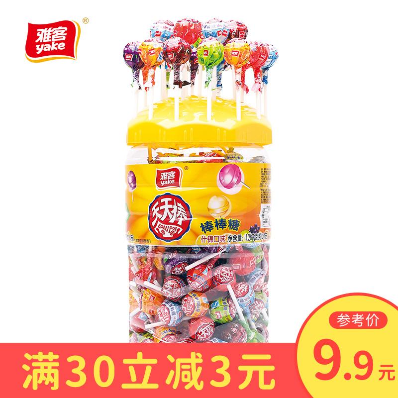 雅客天天棒棒糖网红桶装整箱批发散装糖果批发可爱水果味1260g