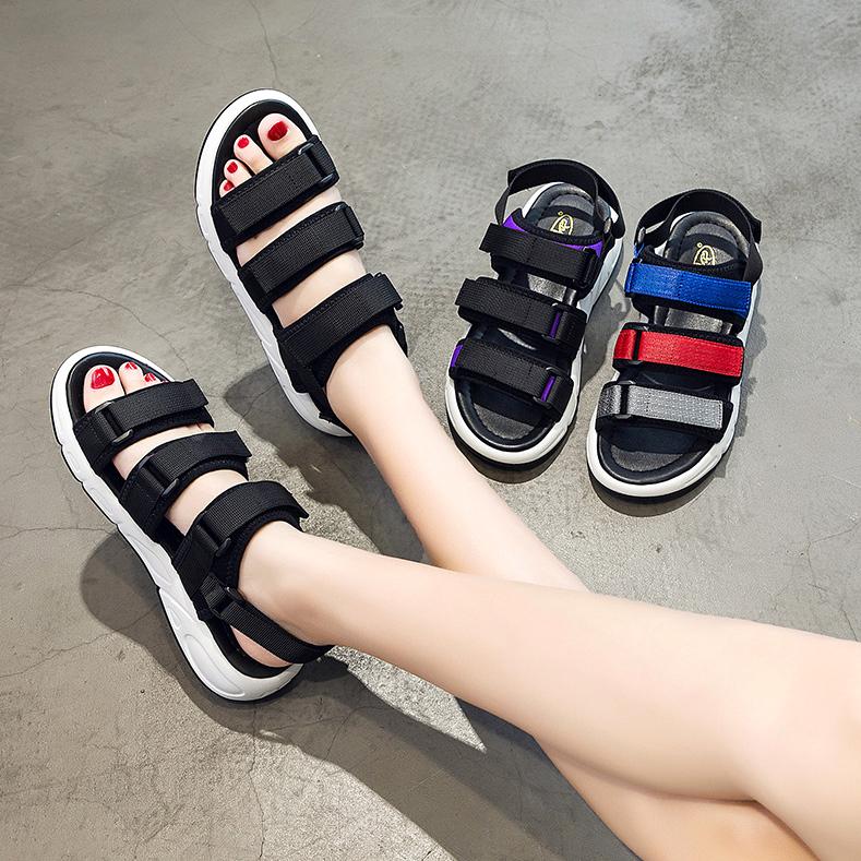 沙滩凉鞋女夏2020新款百搭运动风孕妇防滑外穿魔术贴厚底中跟学生