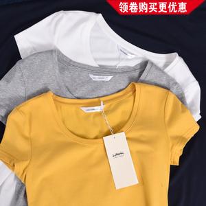 短袖t恤女2019新款纯色修身白色上衣黑色纯棉打底衫ins潮夏季女装