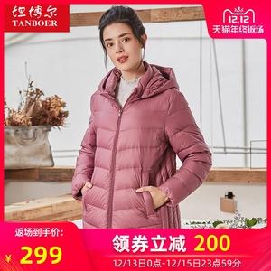 坦博尔中老年款羽绒服2019年新款冬季宽松保暖外套女装上衣妈妈款
