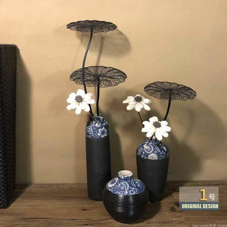 干花花束插花家居摆设 干荷花装饰客厅 新中式复古禅意带花瓶套装