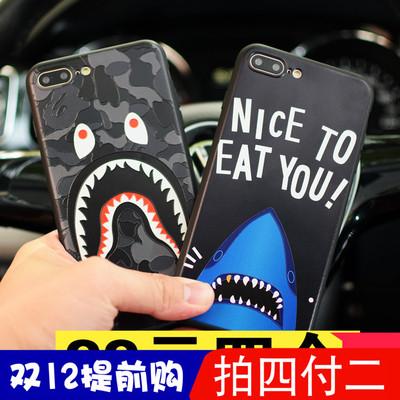 鲨鱼个性苹果iphone6/7plus情侣手机壳磨砂8创意男女款6PLUS潮10x