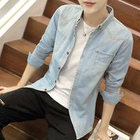 查看牛仔衬衫男士春季长袖衬衣服韩版潮流帅气男外套2021新款工装寸衫价格