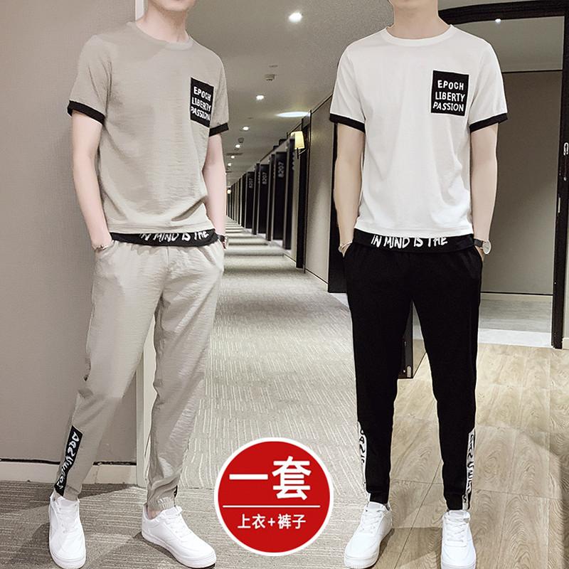 夏季套装男士短袖t恤冰丝潮流韩版休闲搭配帅气一套衣服潮牌男装