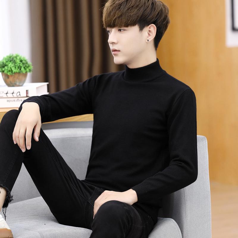 男士毛衣半高领秋冬季百搭修身针织打底衫纯黑色中领线衣潮流男装