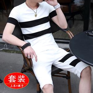 夏季休闲短袖短衣短裤套装七分裤