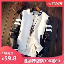 男士休闲皮衣男日系青年修身棒球服外套薄款夹克外衣秋季学生衣服