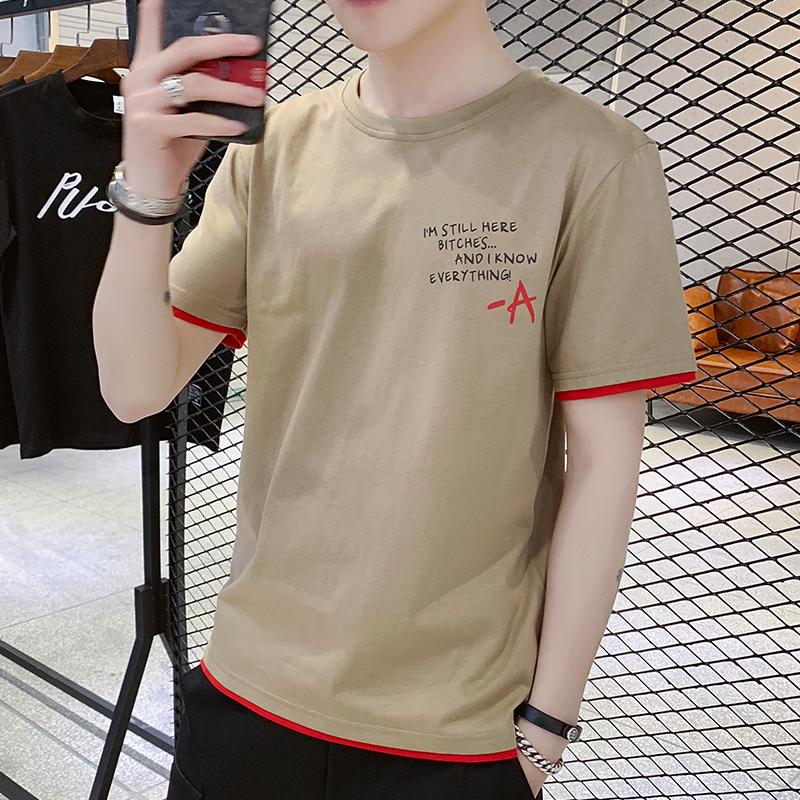 夏季新款男士短袖t恤潮流男装半袖打底衫学生潮牌体恤上衣服纯棉T