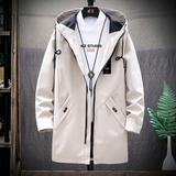 男士外套秋冬季2019新款韩版潮流修身帅气工装加绒加厚中长款风衣