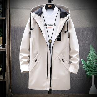 男士外套春秋季2020新款韩版潮流修身帅气薄款工装夹克中长款风衣品牌