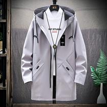 风衣男士休闲春秋季韩版潮流中学生宽松青少年外套中长款夹克衣服