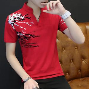 2021新款男士短袖t恤v领打底衫