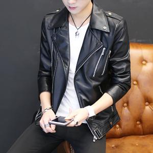 青年个性短款皮衣男士韩版机车皮夹克潮流春秋季帅气休闲薄款外套