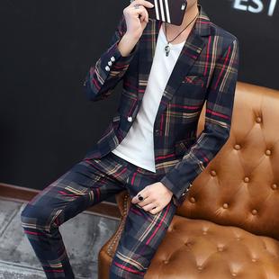 2件套装春秋季男士西服青年潮流英伦修身帅气薄款格子休闲小西装