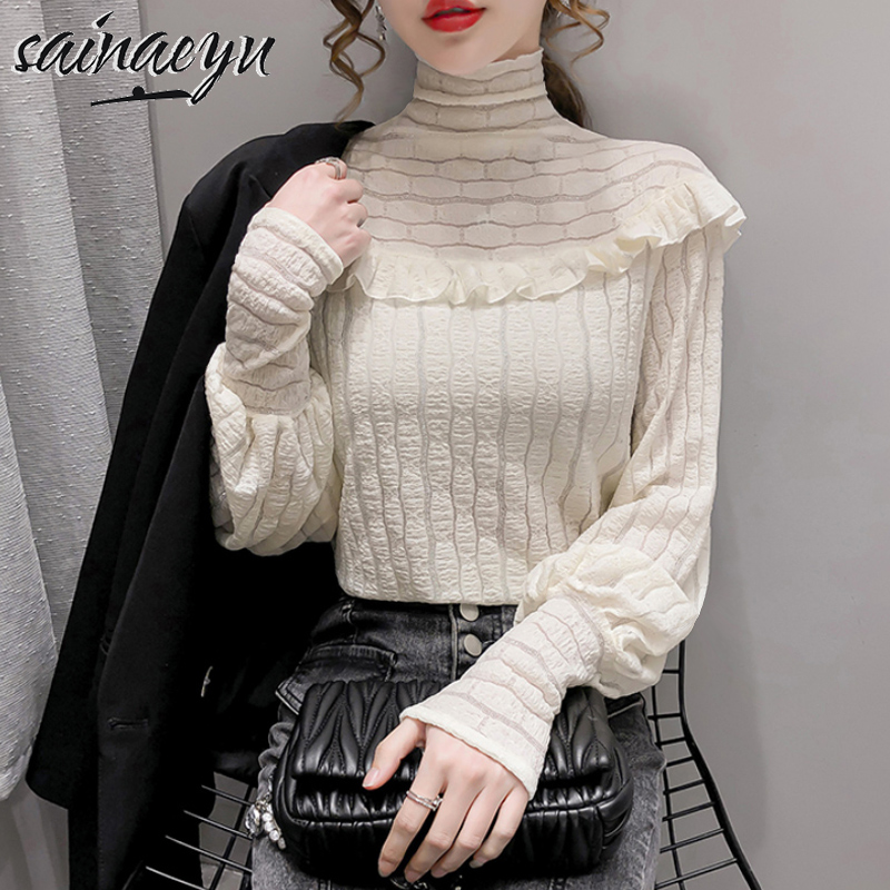 High end Chiffon bottomed shirt early spring 2021 spring womens new high collar with long sleeve top and foreign style shirt