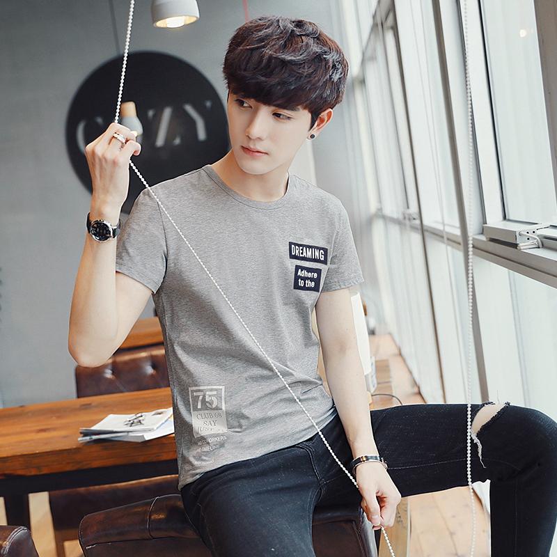 短袖T恤男青少年韩版修身圆领男士棉t恤夏季薄款印花打底衫帅气潮
