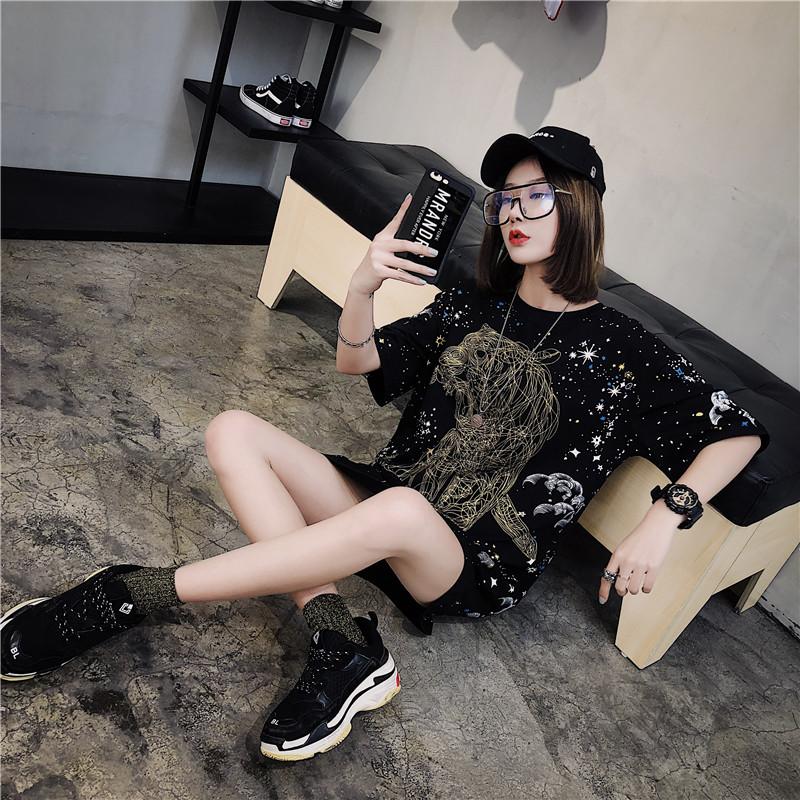 2018夏装新款宽松hiphop蹦迪衣短袖t恤女网红同款ins半袖上衣服潮