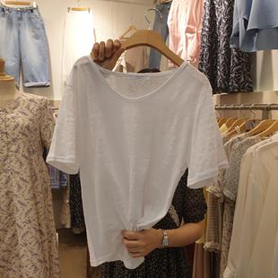 上衣 宽松韩版 新款 V领体恤纯色白色打底衫 夏季 纯棉竹节棉t恤女短袖