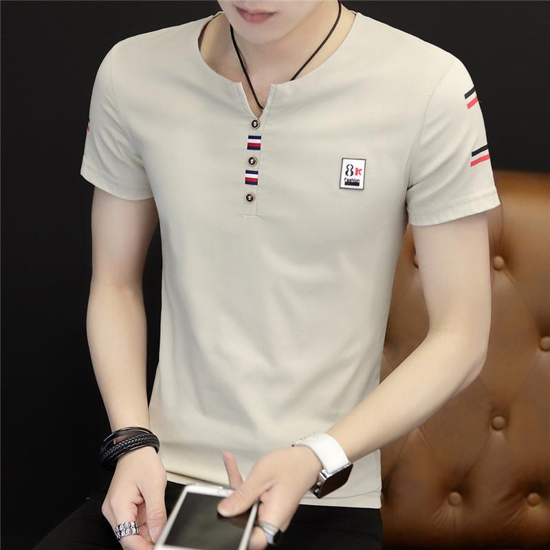 夏季男士短袖t恤血V领半截袖韩版潮流半袖修身体恤潮牌夏装上衣服