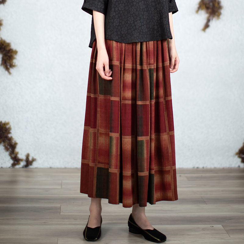 Light bath [nature 3] silk Xiangyun yarn literature and art style elastic half skirt long skirt forest lattice