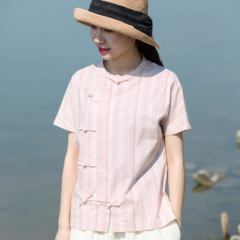 Qingmu self-made new cotton light Chinese style blouse with handmade buckle and versatile wavelet dots