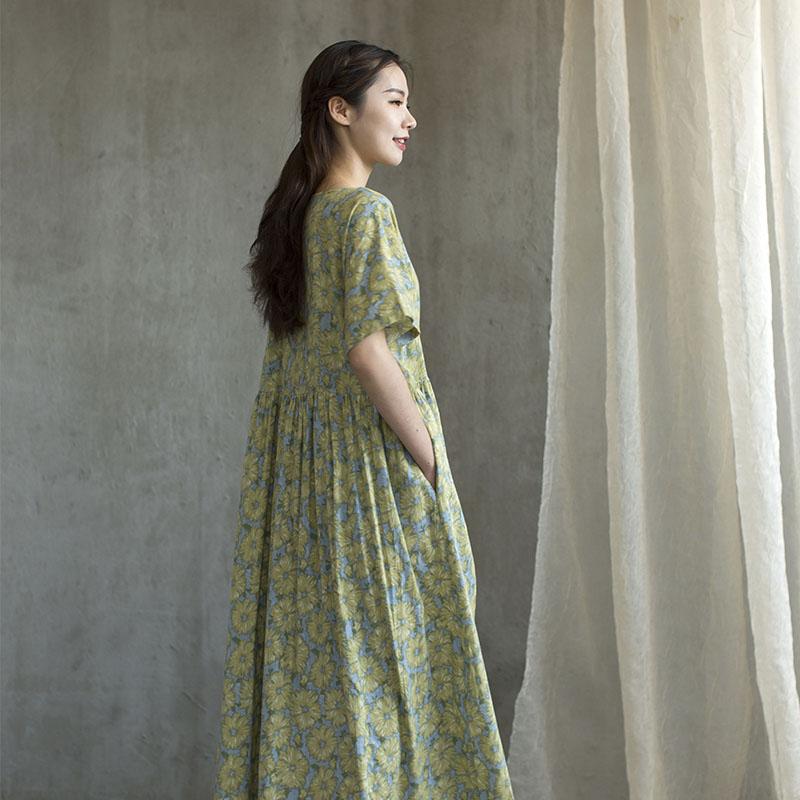 【樱花盛开绿】 日本原单抓绒感全棉宽松日式连衣裙