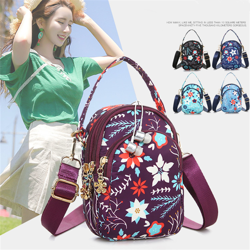 Ningduo printed messenger bag single shoulder bag womens leisure handbag mobile phone bag large wallet travel light cloth bag