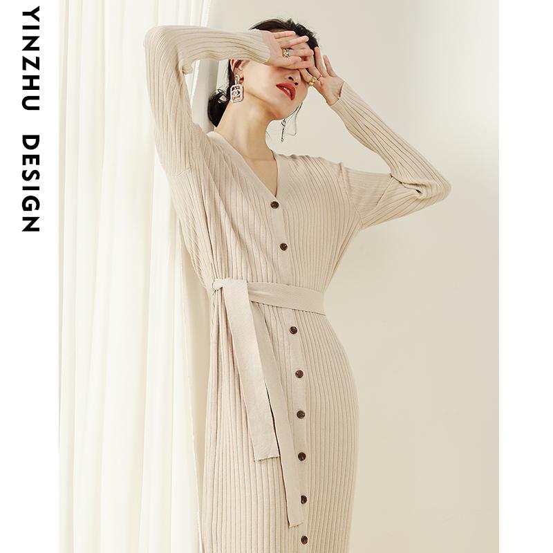 春秋法式小众针织连衣裙女中长款V领毛衣开衫系带针织收腰打底裙