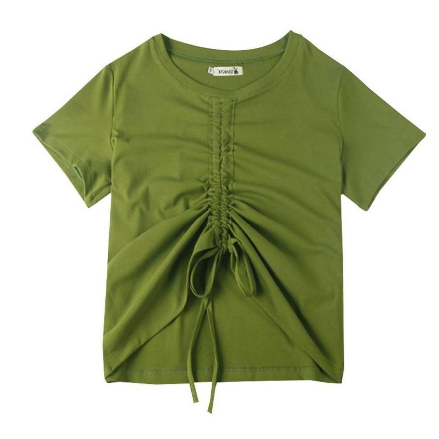 New large womens 2021 summer new careful machine drawstring tie top wrinkle slim short sleeve T-shirt fat