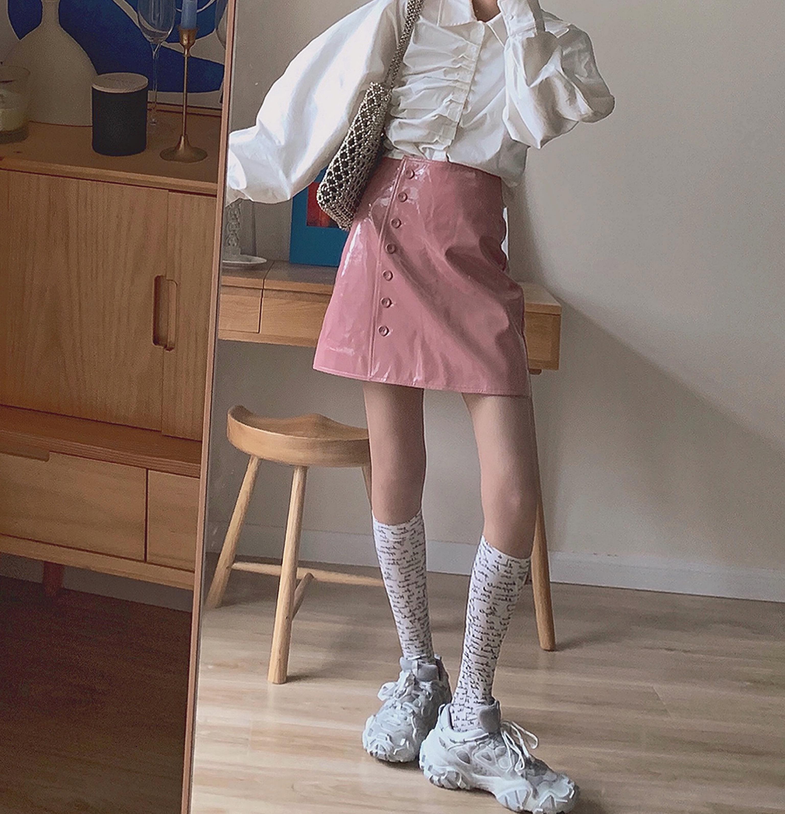 粉色单排扣A字皮裙半身裙高腰纯色短裙女2019年秋季新款三三与ssy
