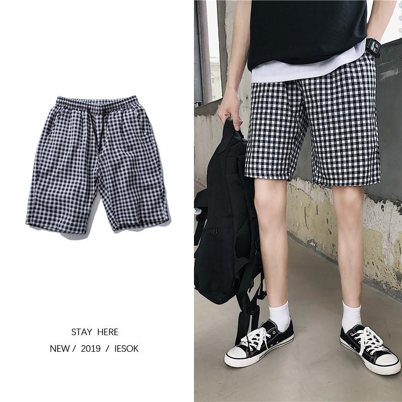 夏季新款 小格子情侣装短裤潮男五分裤子 A017 DK18 P35,可领取元淘宝优惠券