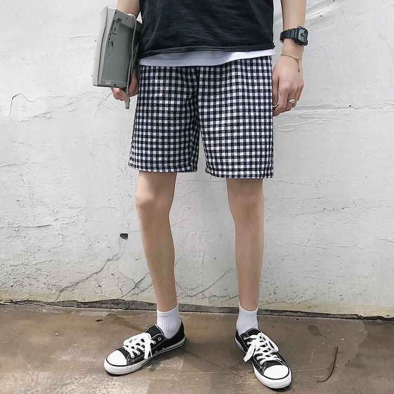 夏季新款 细格子情侣装短裤潮男五分裤子 A017 DK18 P35,可领取元淘宝优惠券