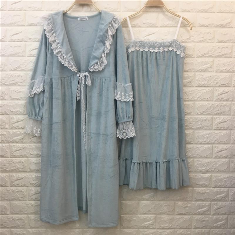 日系秋冬珊瑚绒吊带性感可爱睡裙